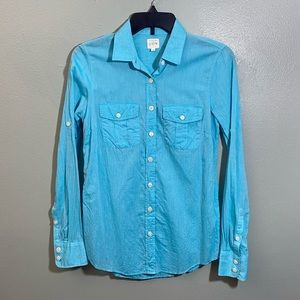Aqua Button-Up Blouse